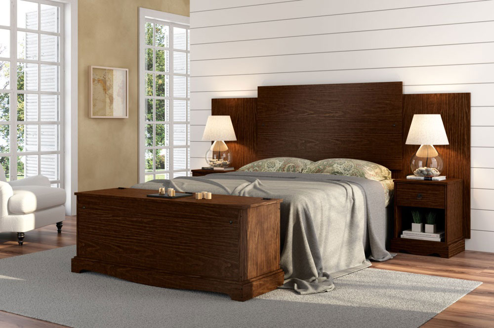 cabeceira de cama box casal queen com criado mudo madeira